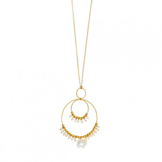Necklace With Two Hoops And Pearls