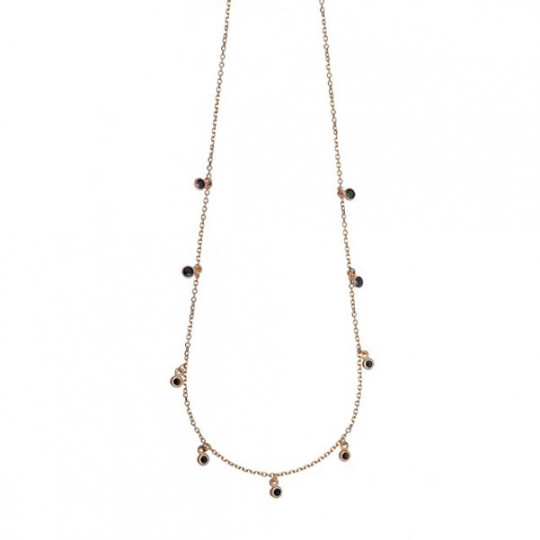 Long Necklace With Black Chatons