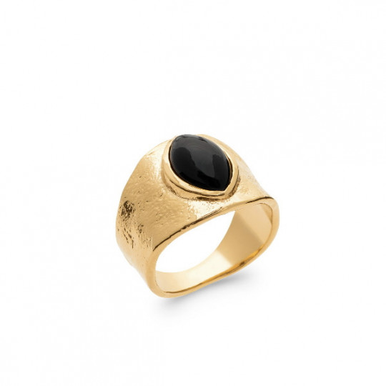 Seal Type Ring With Black Agate