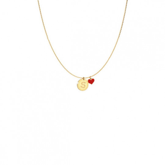 Engraved Letter S And Red Heart Necklace. SWBKOS19