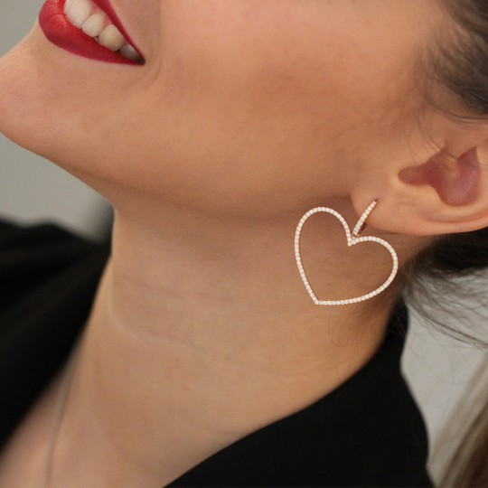 LONG HEART EARRINGS WITH BRILLIANT