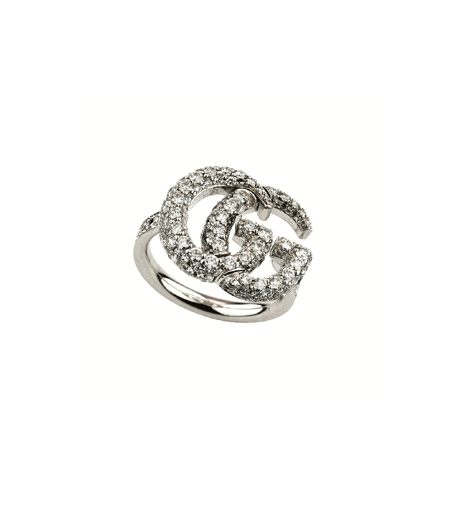 75d8519383f GUCCI GG RUNNING WHITE GOLD WIDE DOUBLE G DIAMOND 14MM RING YBC52569600101