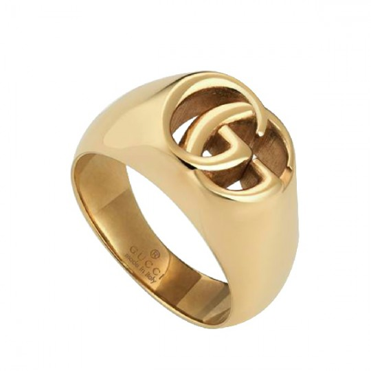 GUCCI GG RUNNING YELLOW GOLD CHEVALIER RING 525732 J8500 8000 16