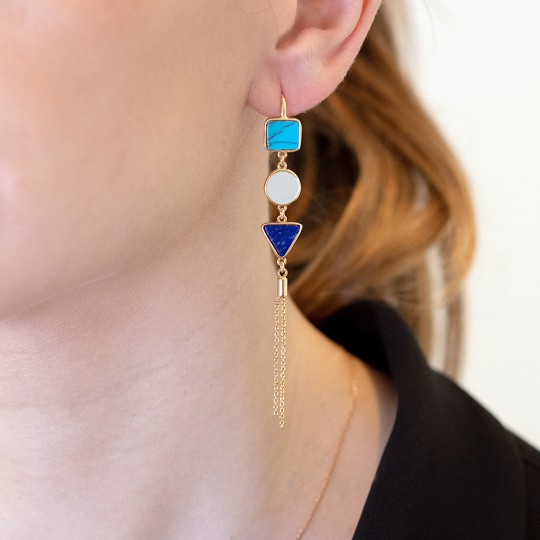 LONG EARRINGS WITH GEOMETRIC FIGURES