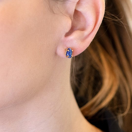 GOLDEN EARRINGS WITH BLUE STONE