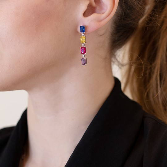 SILVER EARRINGS WITH MULTICOLOURED STONES