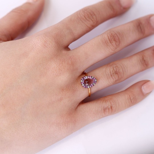 AMETHYST RING, DIAMONDS AND SAPPHIRES