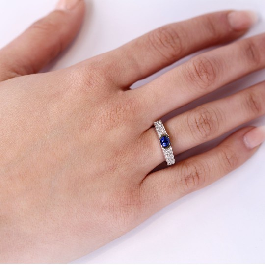 RING BRILLIANT AND SAPPHIRE