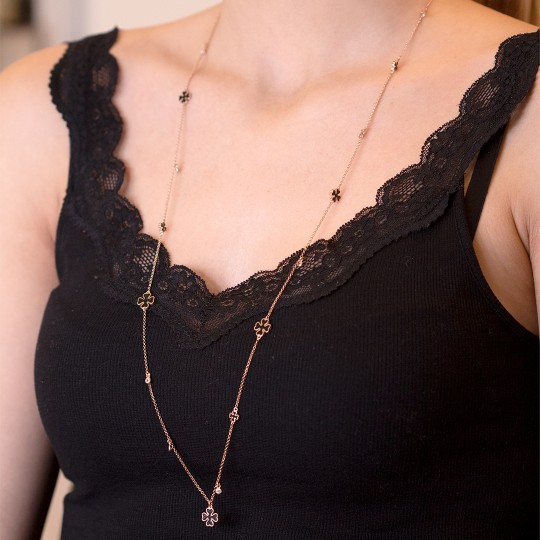 LONG NECKLACE WITH BLACK CROSSES