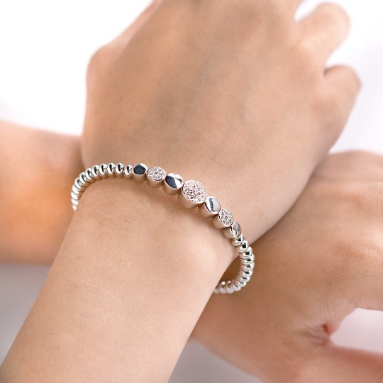 ELASTIC BRACELET WHITE GOLD AND WHITE DIAMONDS