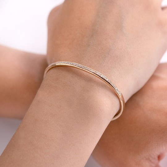 THIN BRACELET MADE OF ROSÉ GOLD AND DIAMONDS