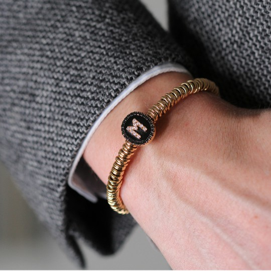 ROSE GOLD BRACELET WITH M INITIAL