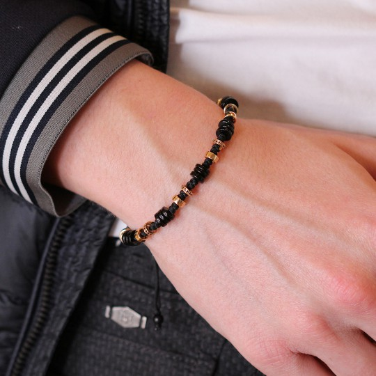 BRACELET ROSE GOLD  WITH BRILLIANT AND ONIX