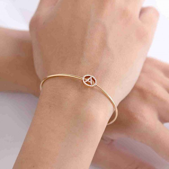 PINK GOLD CANE BRACELET WITH LETTER A