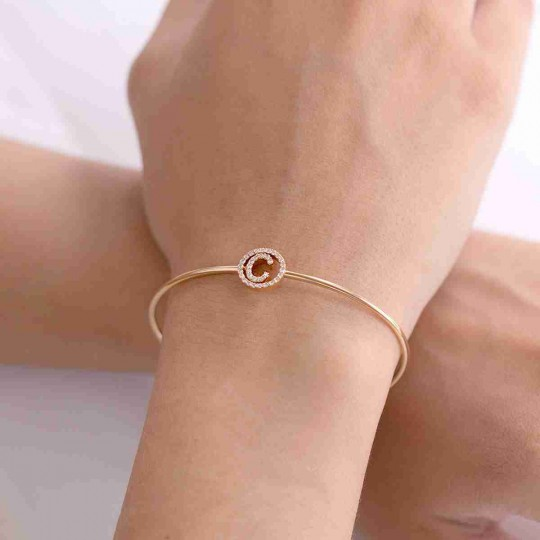 CAÑA PINK GOLD BRACELET WITH LETTER C