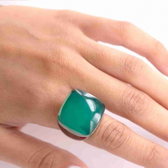 SILVER RING WITH BIG GREEN STONE