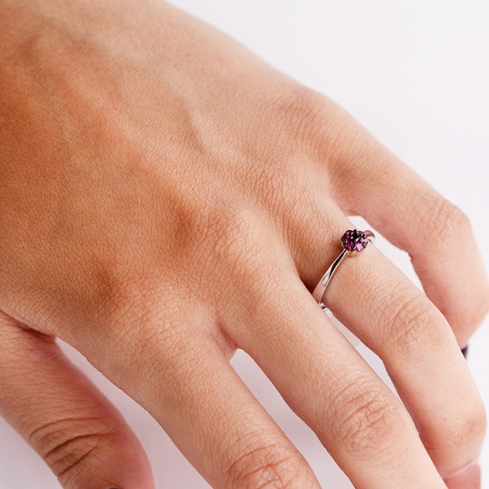 SILVER RING WITH PURPLE ZIRCONIA