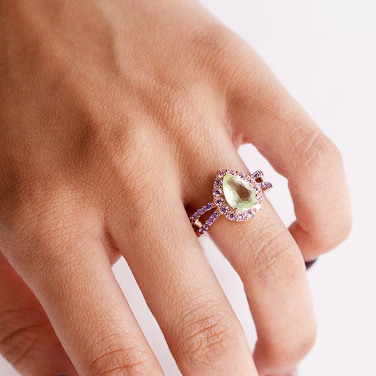 RING SILVER ROSÉ WITH STONE GREEN TEAR