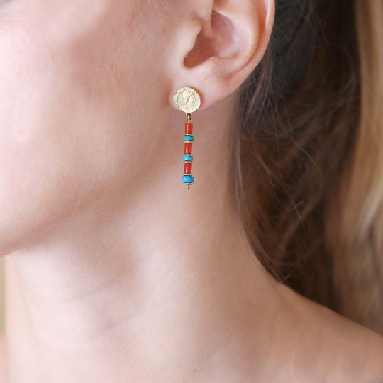 YELLOW  GOLD EARRINGS WITH CORAL AND TURQUOISE