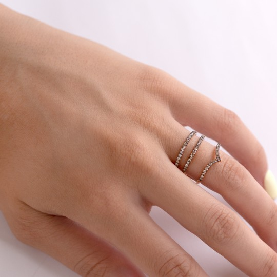 TRIPLE RING IN PINK GOLD AND DIAMONDS BROWN
