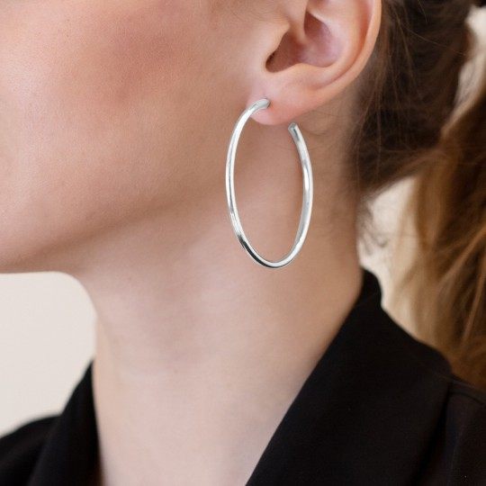 RUTHENIUM SILVER HOOP EARRINGS