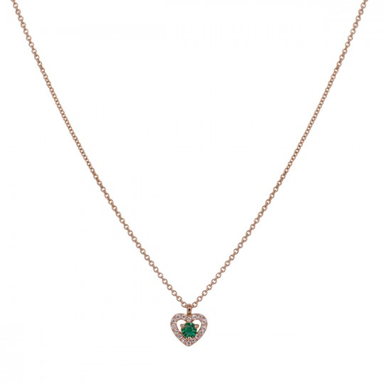 HEART PENDANT WITH DIAMONDS AND EMERALD