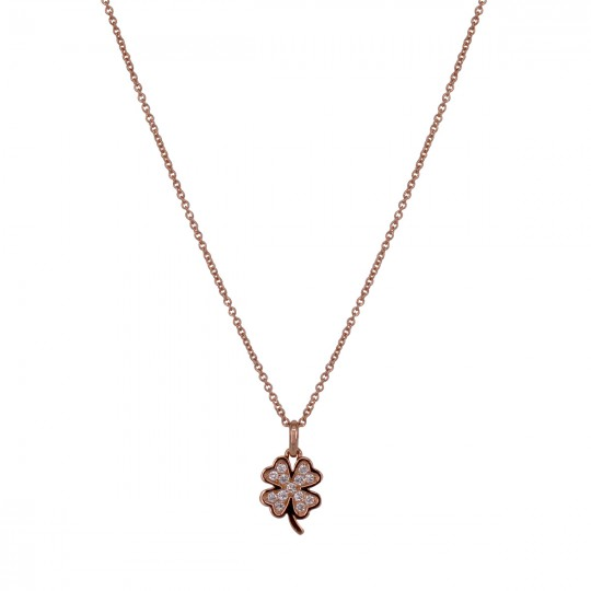 CLOVER PENDANT WITH 4 DIAMOND LEAVES