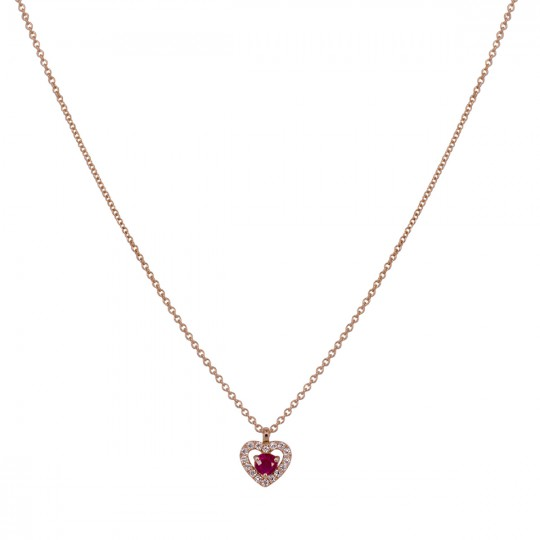 HEART PENDANT WITH DIAMONDS AND RUBY