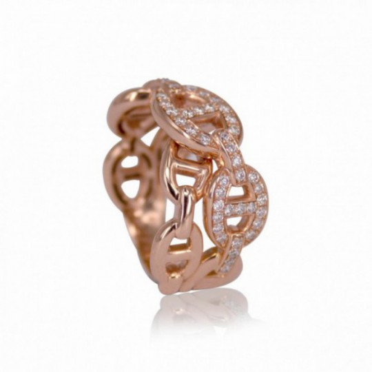 DOUBLE CHAIN RING WITH DIAMONDS