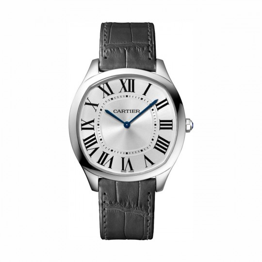 DRIVE DE CARTIER EXTRA-FLAT WATCH WGNM0007 LARGE MODEL, MANUAL, ROSE GOLD, LEATHER