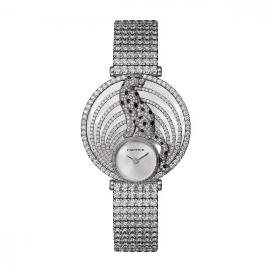 ROYALE DE CARTIER WATCH HPI01098 40 MM, WHITE GOLD, LEATHER, DIAMONDS