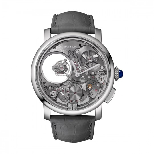 RELOJ ROTONDE DE CARTIER REPETICIÓN DE MINUTOS DOBLE TOURBILLON MISTERIOSO WHRO0023 45 MM, MANUAL, TITANIO, PIEL