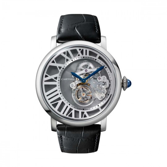ROTONDE DE CARTIER FLYING TOURBILLON REVERSED DIAL WATCH W1556214 MANUAL, PLATINUM