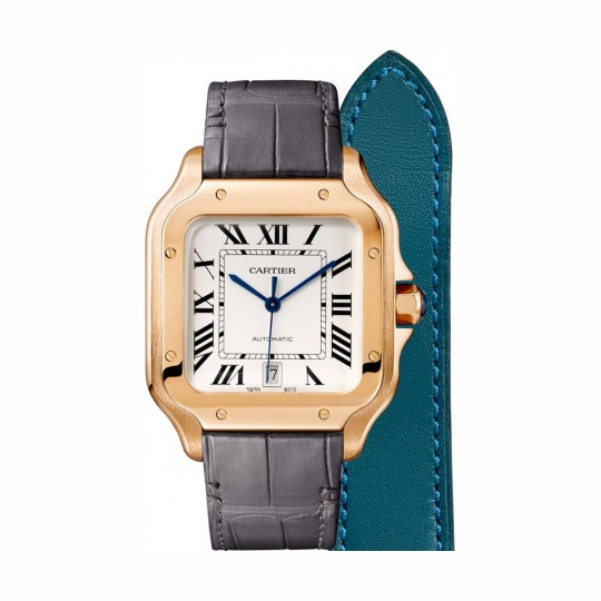 SANTOS DE CARTIER WATCH WGSA0011 37 MM, STEEL, LEATHER