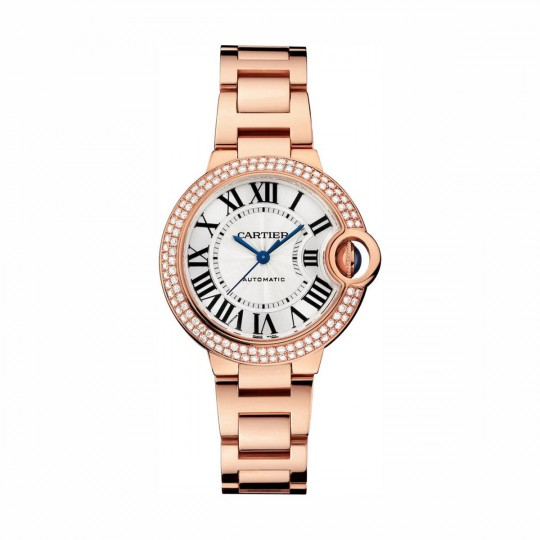 BALLON BLEU DE CARTIER WATCH WE902064 LARGE MODEL, ROSE GOLD, LEATHER, SAPPHIRE