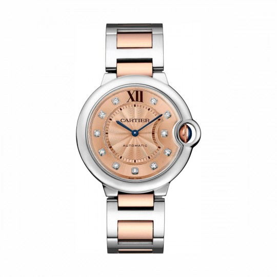 RELOJ BALLON BLEU DE CARTIER WE902054 36 MM, ORO Y ACERO, DIAMANTES
