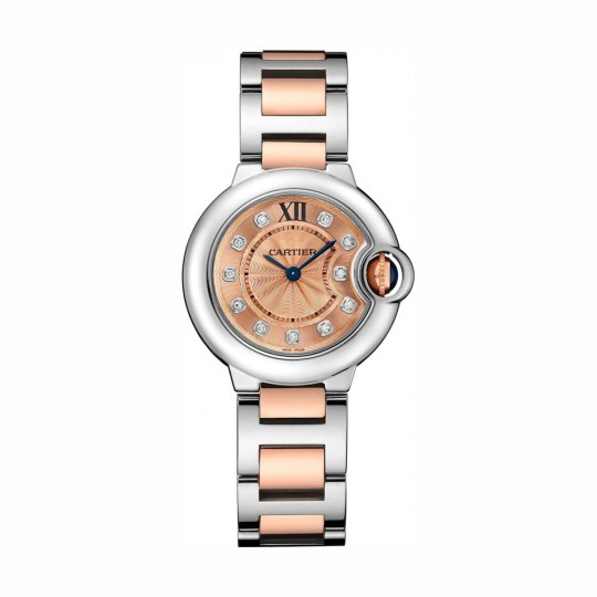 RELOJ BALLON BLEU DE CARTIER WE902052 28 MM, ORO Y ACERO, DIAMANTES