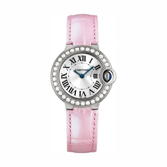 RELOJ BALLON BLEU DE CARTIER WE900351 28 MM, ORO BLANCO, DIAMANTES, ZAFIRO, PIEL