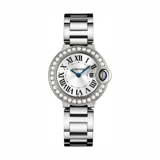 RELOJ BALLON BLEU DE CARTIER WE9003Z3 28 MM, ORO BLANCO, DIAMANTES, ZAFIRO