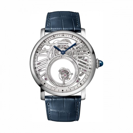 RELOJ ROTONDE DE CARTIER DOBLE TOURBILLON MISTERIOSO WHRO0039 45 MM, MANUAL, PLATINO, PIEL