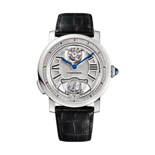 RELOJ ROTONDE DE CARTIER REPETICIÓN DE MINUTOS TOURBILLON VOLANTE W1556209 45 MM, MANUAL, TITANIO, PIEL