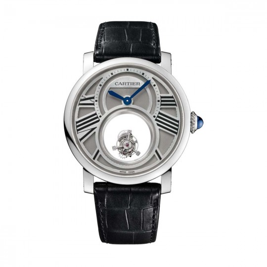 RELOJ ROTONDE DE CARTIER DOBLE TOURBILLON MISTERIOSO W1556210 45 MM, MANUAL, PLATINO, PIEL