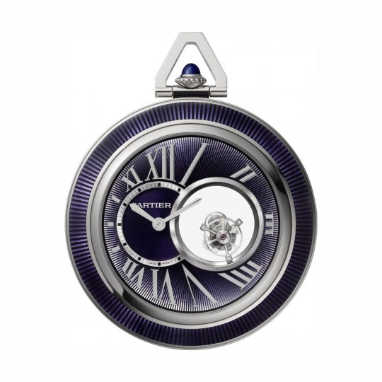 RELOJ DE BOLSILLO DE CARTIER DOBLE TOURBILLON MISTERIOSO WHRO0011 55 MM, MANUAL, ORO BLANCO