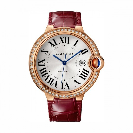 RELOJ BALLON BLEU DE CARTIER WJBB0035 42 MM, ORO ROSA, MANUAL, PIEL