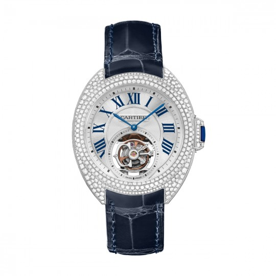 RELOJ CLÉ DE CARTIER, 35 MM, TOURBILLON VOLANTE HPI00933 35 MM, 9452 MC, ORO BLANCO RODIADO, DIAMANTES, ZAFIRO