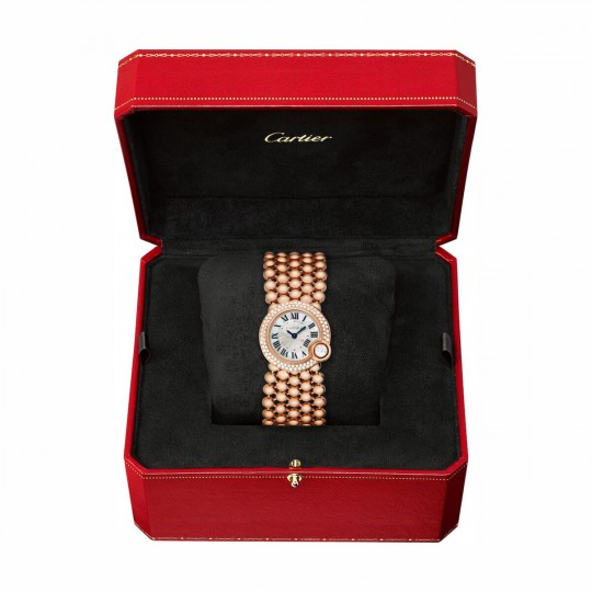 RELOJ BALLON BLANC DE CARTIER WE902057 24 MM, ORO ROSA, DIAMANTE