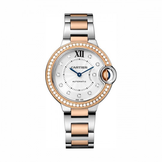 RELOJ BALLON BLEU DE CARTIER WE902077 33 MM, ORO ROSA Y ACERO, DIAMANTES
