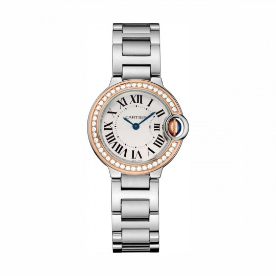 RELOJ BALLON BLEU DE CARTIER WE902079 28 MM, ORO ROSA Y ACERO, DIAMANTES