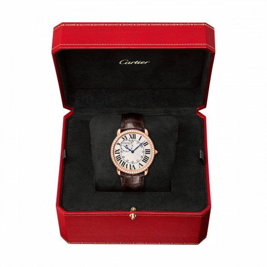 RELOJ RONDE LOUIS CARTIER WR007001 42 MM, ORO ROSA, PIEL, DIAMANTES