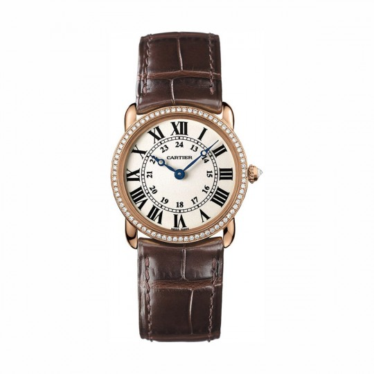 RELOJ RONDE LOUIS CARTIER WR000351 29 MM, ORO ROSA, PIEL, DIAMANTES